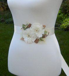 Woodland Wedding Dress Sash Belt Off White & by SorellaSashes