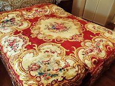 Antique 1930/1940s Italian Cherub Velvet Tapestry Bedspread