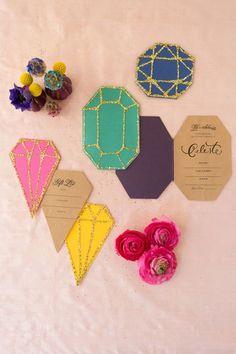 Handmade Weddings: Make Your Own Glittery Gem Inspired Bridal Shower Invitations | Love My Dress® UK Wedding Blog