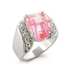 Heart Silver Ring with Rose Cubic Zirconia - Designer Jewel, VORI03-01536