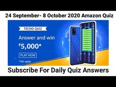 AMAZON TECNO SPARK 6 Air Quiz Answers | 24 September-8 October 2020 | Toady Amazon Quiz Answers - YouTube