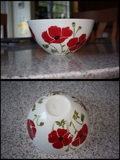 Ceramic bowl hand painted with poppies