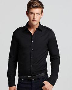Michael Kors long sleeve stretch modern fit shirt