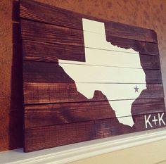 Large Reclaimed Pallet Wood Wall Decor Art Sign Custom State Distressed Art Texas Housewarming Wedding State
