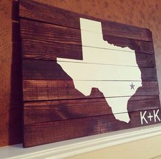Large Reclaimed Pallet Wood Wall Decor Art Sign Custom State Distressed Art Texas Housewarming Wedding State