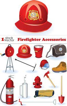 Принаждлежности пожарного - векторные объекты