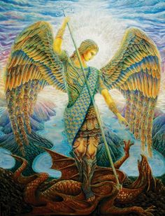 """Archangel Michael by Daniel Mirante. (Archangel Michael is believed to """"remove"""" Fears and Negative Thinking. The sword he carries can slice through negative thoughts and worries and fill the gaps with a warm white light) Saint Michael, St. Michael, Angels Among Us, Angels And Demons, Catholic Art, Religious Art, Art Visionnaire, The Seventh Seal, Frida Art"""