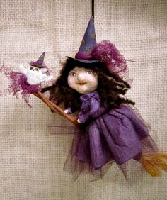 Spun Cotton Ornament Witch & Owl by MariePattersonStudio on Etsy,