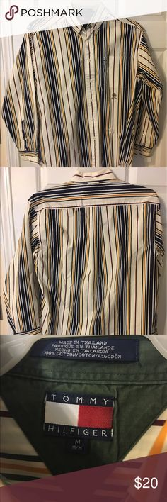"""VTG 90s Tommy Hilfiger Color Block Striped Shirt Worn a few times. A few pen marks on front of the shirt but Great Condition. Measurements top to bottom is 31.5"""" and Armpit to armpit is 24"""" Tommy Hilfiger Shirts Casual Button Down Shirts"""