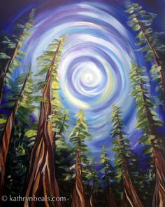 Un bosquet d'arbres anciens sous un ciel dramatique. C'est un souvenir de la West Coast Trail la randonnée sur l'île de Vancouver. Il s'agit d'une impression de photo numérique de la peinture originale par Kathryn Beals. Imprimé dans un laboratoire professionnel sur papier mat, convient