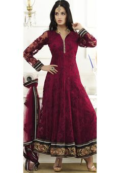 Buy Maroon Net Abaya Style Churidar Kameez online, work: Embroidered, color: Maroon, usage: Wedding, category: Salwar Kameez, fabric: Net, price: $271.85, item code: KAN50, gender: women, brand: Utsav