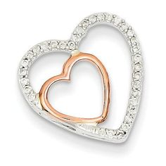 14K Two-tone White & Rose Gold Diamond Heart Chain Slide XP3626AA