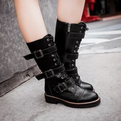 cool Shoespie Fashion Buckles Lace up Flat Boots