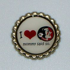 Florida State Seminoles Pride Magnetic Bottlecap w/ Swarovski Accent for use with our nylon necklace Gram and Me - You Choose Mommy or Daddy Said So. $5.99, via Etsy.