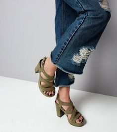 Khaki Suedette Multi Strap Platform Heels | New Look
