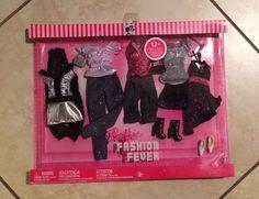 New NIB Barbie Doll Fashion Fever Clothing Dressy Outfits Set Black Silver Pink