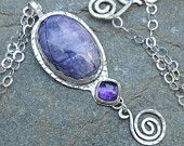RESERVED for (zeusgoblin) -- Purple Dreams, Gemstone and Sterling Silver Necklace with Swirls