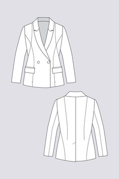 """Aava Tailored Blazer - Named Patterns. Also made for the Singer Sewing Project - by Juliet Uzor. Will be sold as long as the stock lasts!"""" - 15 October 2019 (advanced sewing pattern, lined blazer pattern. Flat Drawings, Flat Sketches, Blazer Pattern, Suit Pattern, Clothing Sketches, Fashion Sketches, Fashion Flats, Diy Fashion, Fashion Design"""