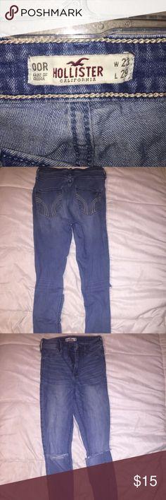 High-waisted Ripped Holister Skinny Jeans Medium wash denim, distress on knees, high waisted skinny jeans. Holister Pants Skinny