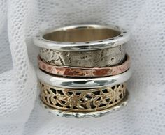 Sterling silver gold spinner ring. Silver spinner ring. by MayaOr $375.00