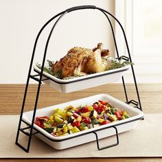 Pier 1 Imports Tiered Server With Stoneware Baking Dishes ($48) ❤ liked on Polyvore featuring home, kitchen & dining, white, white stoneware, pasta server, tiered server and pier 1 imports