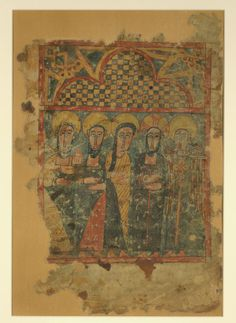 """""""Christ resurrected, with the Archangel Michael, Mary Magdalene, St. John, and St. Peter"""" Late 14th century Ink and pigments on heavy darkened, partially fragmentary parchment H: 15 1/4 × W: 10 5/8 in. (38.8 × 27 cm) Walters Art Museum"""