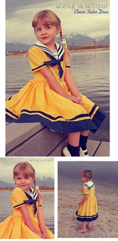 Retro-inspired Girls' Sailor Dresses | Living in Lilliput-- sewn using an old pattern