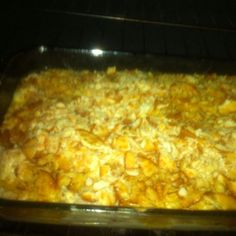 Poppy seed chicken Casserole: cook 4 large chicken breasts and pull apart. Mix with one large can of cream of chicken, 16 oz sour cream and 2 tsp of poppy seeds. Melt one stick of butter in casserole dish and add chicken mixture. Top with crushed ritz crackers. Bake at 350 times 40 minutes. Delicious! You can also half this recipe of needed for an 8 inch casserole.