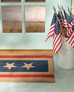 DIY Patriotic Doormat                                                          An easy-to-make addition to the front door, this festive doormat is perfect for last-minute Fourth of July decorating. The technique calls for little more than a basic doormat, paint, tape, and our downloadable star-stencil template.