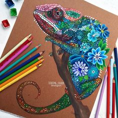 #flower #chameleon ⭐️ • tbh I am very proud of this drawing, it took me such a long time hehhe its done with winsor & newtonwatercolors + prismacolors on a cardboard (aka the back of my sketchpad bc I ran out of paper) ✏️ comment what you think & I'll try to like a post of yours