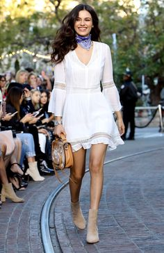 Shop The Rebecca Minkoff Spring 2017 Fashion Show - Victoria Justice in a white sundress and bandanna