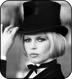 Bardot in top hat.