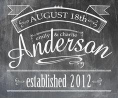 Customized 20 x 24 Chalkboard Print - Wedding / Established Date - Shipping Included. $65.00, via Etsy.