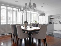 Jadalnia w Apartamencie - zdjęcie od BBHome Dining Area, Dining Room, Dining Table, Beautiful Interiors, The Hamptons, Cool Designs, Sweet Home, House Design, Kitchen