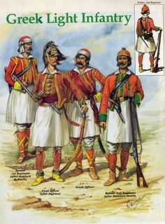 Another two foreign recruited regiments raised to fight the French during the Revolution, consulate and Empire. Lto R Soldier Regiment,Field Officer, Greek officer and soldier Regiment. Rear view is of soldier Regiment. Military Ranks, Military Uniforms, Military History, Best Uniforms, British Uniforms, Greek Independence, Greek Warrior, Army Uniform, Napoleonic Wars