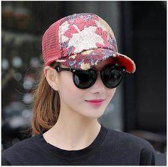 Color block sequins trucker cap for women adjustable baseball caps