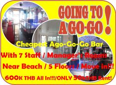 Pattaya 5 floor Go-go Bar Rental: 50 m from Pattaya beach, Walking Street around the corner, massive foot traffic passing, can be  gay bar, lady boy bar or girl bar, all good for location, no extra investment, ready to be open, new fully equipped bar, Music and light installed, refrigerators on place, 4 floors, 5 staff rooms plus 2 managers apartments with kitchens upstairs, rent 50,000.00 THB, key money is 600,000.00 THB included first month rent plus 3 months deposit with the free use of…