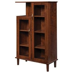 Amish Pierre Curio Cabinet Go contemporary with the Pierre! A modern twist on the beloved curio cabinet. Features five adjustable shelves. Custom build in choice of wood and stain. #curiocabinet Entryway Furniture, Entryway Ideas, Solid Wood Furniture, Curio Cabinets, Quarter Sawn White Oak, White Oak Wood, Will And Grace, Vintage Plates, Shaker Style