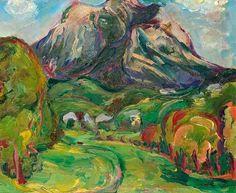 Anton Mahringer - - Dobratsch im Gailtal, 1928 Museum, Anton, Magic, Landscape, Mountain, Trees, Painting, Kunst, Photo Illustration