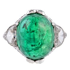 art deco emerald cabochon ring