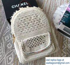 Chanel Crochet Braid Cayo Coco Backpack Bag A93681 White Cruise 2017