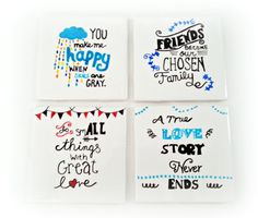 Drink Coasters - Inspirational Quotes Coasters, Pick Your Quotes, Friends Coaster, Wedding Coaster, Quote Coaster, Bar Coasters.