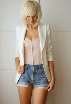 white blazer, corset, and jean shorts. Love this