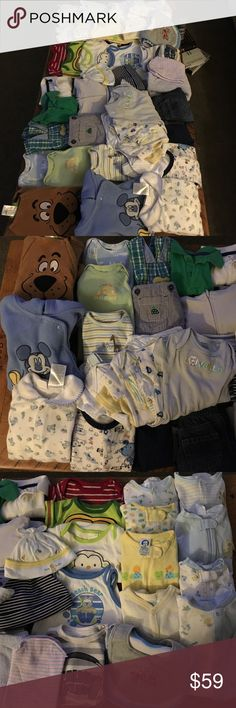 Extra large bundle of boys 0-3 month clothes This extra large bundle has 46 pieces! It includes 2 thick fleece pj onesies, 3 elastic band bottom onesies, 5 pairs of pants, 2 polo shirts, 2 overalls, 12 footie onesies, 4 hats, a zip up hoodie, 3 bibs, 4 tshirt onesies, 1 full length onesie and 7 onesie body suits. Excellent condition. Several body suits and footie onesies are brand new. Other