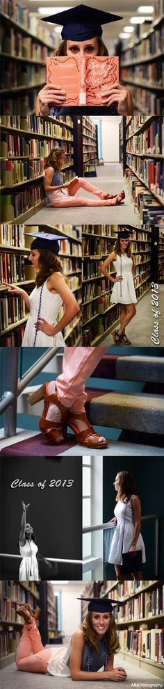 College graduation shoot in the university library by ASE Photography