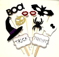 10-Piece Halloween Photo Booth Prop Set Witch by BHWDesign