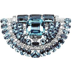 Cartier London - MAGNIFICENT CARTIER LONDON AQUAMARINE and DIAMOND CLIP 1937 - Magnificent Costume Jewels found on Polyvore
