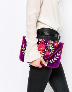 Image 3 ofMoyna Velvet Envelope Clutch Bag With Embroidery
