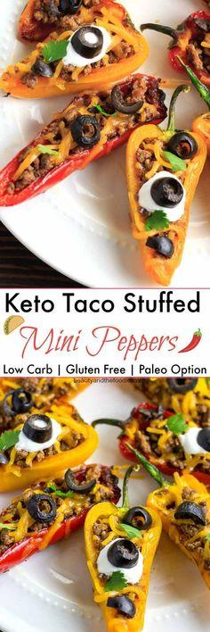 Keto Taco Stuffed Mini Peppers- low carb with paleo option. Keto Taco Stuffed Mini Peppers- low carb with paleo option. Keto Foods, Ketogenic Recipes, Low Carb Recipes, Cooking Recipes, Easy Recipes, Pescatarian Recipes, Amazing Recipes, Desserts Keto, Keto Snacks