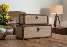 Decorative Storage, Khaki Canvas Covered MDF Boxes ★ Creative Co-Op Home